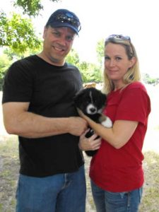 Remy, Nancy and Curt on pick up day at the breeder